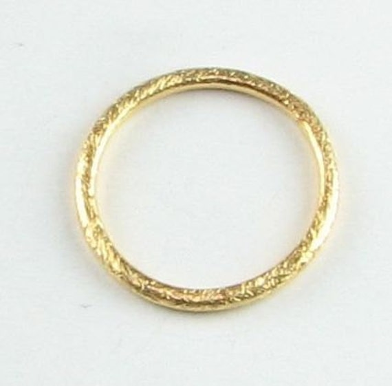 18mm Rounded Circle Shaped Bali Vermeil Brushed Line Texture Loop Connector Eternity Rings Links (2 beads)