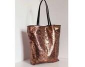 SALE -Bronze tote bag leather handles