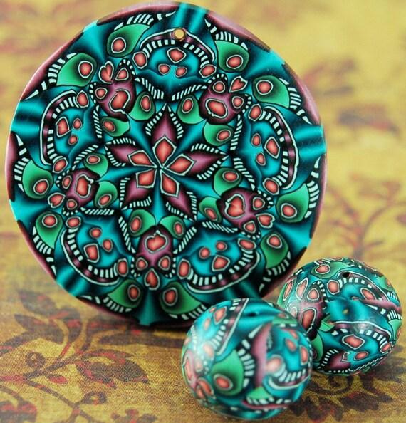 Polymer Clay Kaleidoscope Circle Pendant Plus 2 Matching Rondelle Beads