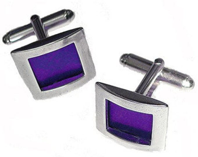 Recycled aluminum / sterling silver cuff links in Purple