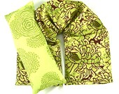 Natural Healing: Neck Wrap Eye Pillow Hot/Cold Therapy Organic,Microwaveable,Reuseable, Floral Lime Green