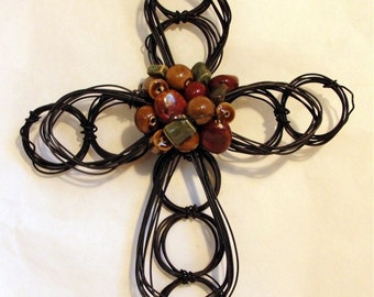 wire cross with ceramic beads