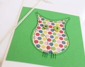 Owl greeting card - green with colourful spots, sewn paper design