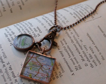 Map Pendants in Brushed Copper,Custom Order,The GirlFriend Necklace, Map Jewelry