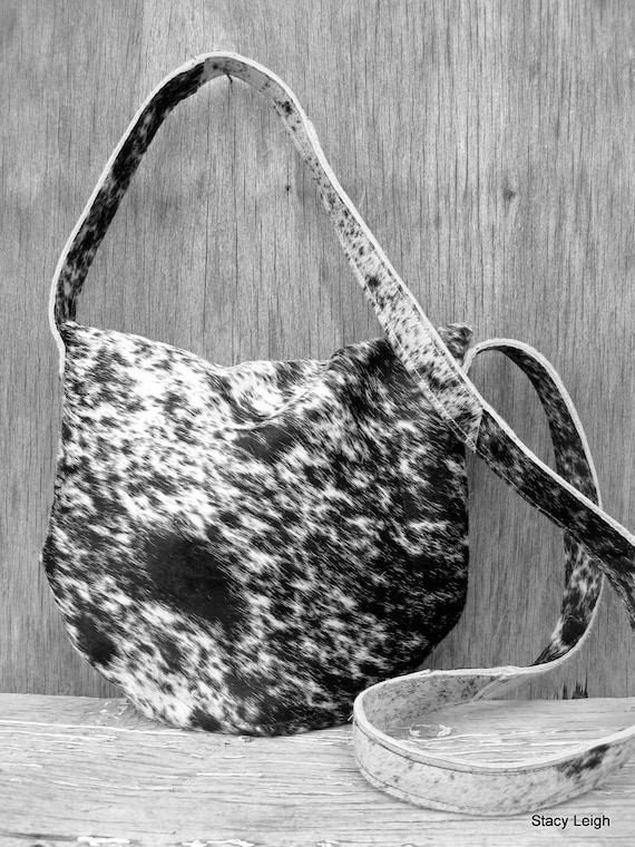 Black and White Speckled Hair On Cowhide Leather Cross Body Bag by Stacy Leigh RESERVED for Danielle