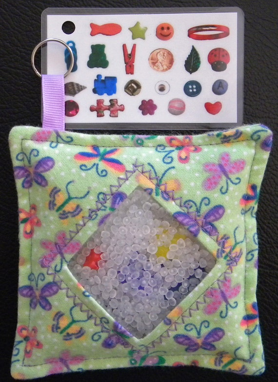 I Spy Bag - Mini with Sewn Word List and Detachable Picture/Word List- Butterfly Garden