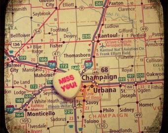 miss you champaign - urbana custom candy heart map art 5x5 ttv photo print - free shipping