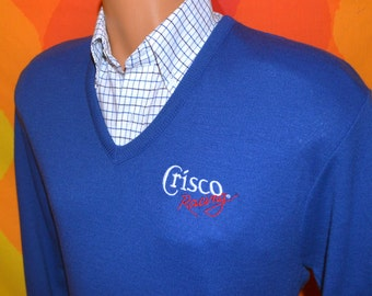 NWT vintage 80s golf sweater NASCAR crisco racing car auto v-neck jumper Medium soft preppy morris 1986