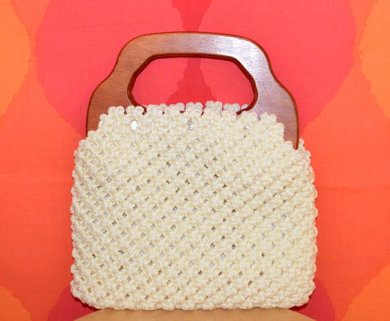 vintage 70's BERMUDA BAG ivory crochet interchangeable cover purse wooden handle banner house clutch