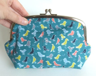 Cosmetic bag, bird print, teal blue, cotton pouch