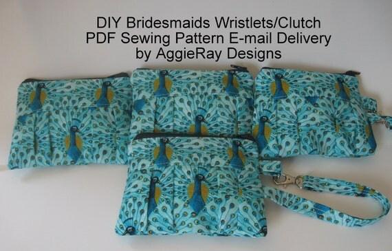 INSTANT DOWLOAD diy Wedding Bridesmaid Tutorial PDF Sewing Pattern Wristlet Clutch Zipper Pouch:  Aggie Clutch Wristlet 3 Sizes