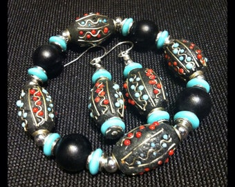 Black coral turquoise beaded bracelet with matching dangle pierced earrings