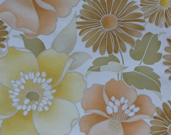 Vintage Wallpaper - by the yard - 1970's LARGE Floral Print