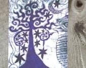 Midnight Tree Batik Fabric Print Patch