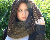 The Favorite Cowl neck hood winter scarf WOOL French Toast Brown