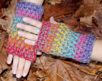 Rasta Love  Peace Rainbow fingerless gloves hand warmers Grey