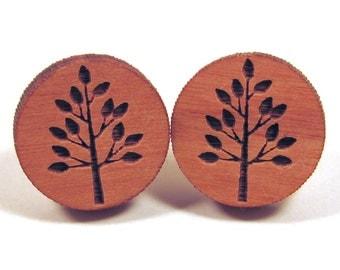 Wooden Tree Post Earring Studs