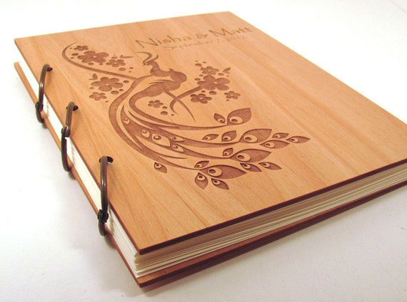 Wooden Wedding Guest Book Photo Album LARGE SIZE - Peacock Design