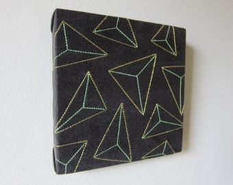 Gold Prisms Textile Wall Art by Tiny Marie OOAK Mint Green