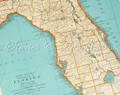 Florida Vintage Map  - Original 1940s Vintage Map of Florida