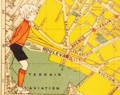Paris - Children in Paris - 4 Assorted Collage Cards - Yellow Vintage Maps of Paris