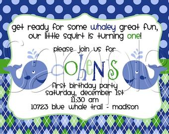 Custom Printable Preppy Whale Birthday Party Invitation