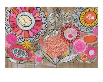 Bold Floral Horizontal - 10 x 8 GICLEE PRINT, bright botanical collage, Susan Black