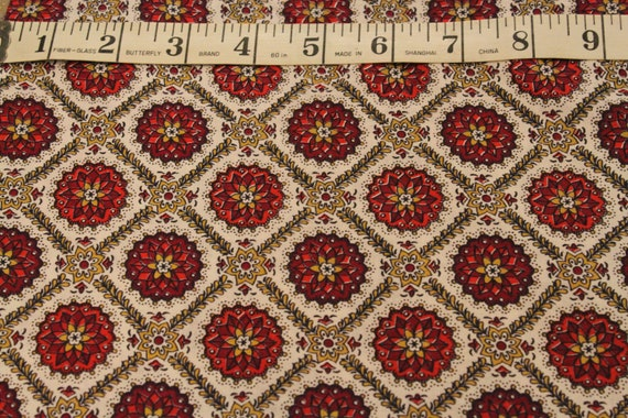 Great Maroon and Gold 1940's Print Fabric