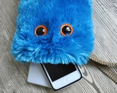 Gadget Gadabout - plush accessory monster wristlet clutch in turquoise fur