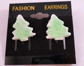 Christmas Tree Cookie Green Earrings - Pierced