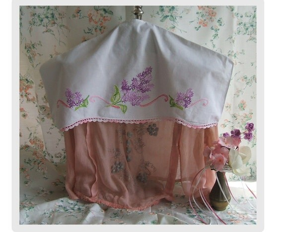 Clothing protector Embroidered Lilacs, hanger Cover. Upcycled Vintage pillowcase.