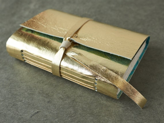 Gold Leather Journal or Sketchbook