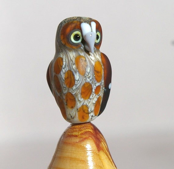 Elf Owl wearable lampwork wildlife sculpture - glass bead by cleo Dunsmore Grama Tortoise
