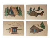 set of four winter lodge cards