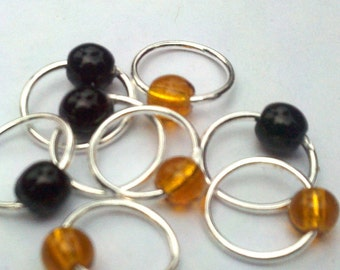 Pumpkin black snag-free lace stitch markers