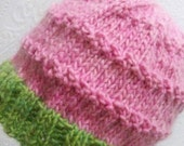 Hand Knit Chunky Lime and Pink Wool Hat.
