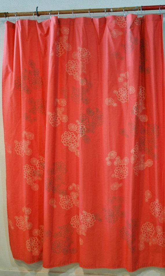 Items Similar To Bright Coral Pink Shower Curtain With Rosetta Print In Creme