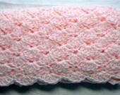 SALE Hand Crochet baby blanket, Baby Girl Blanket, mini afghan, stroller blanket, Pink