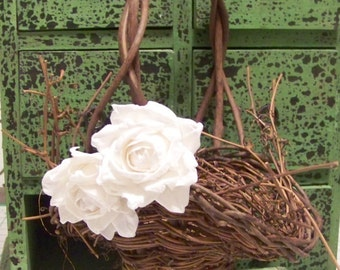 Rustic Flower Girl's Basket with Paper Roses-in Different Colors