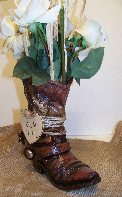 Rustic wedding centerpiece cowboy boot flower vase set of