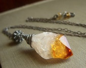Hammered Citrine Necklace on Oxidized Sterling . Wirewrapped Rustic Minimalist Pendant . Flame