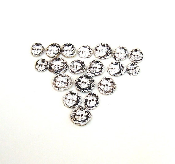 Beads Woodland Creepy Fairy Face Charms 19 Small Rustic Stoneware White Black