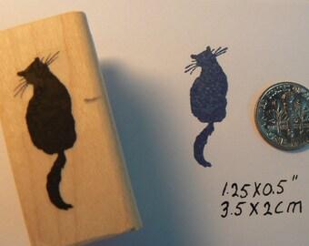 Silhouette cat mini rubber stamp. P5