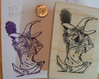 Witch with broom rubber stamp P1