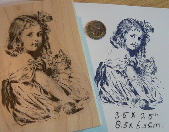 Girl with kitten rubber stamp WM P3