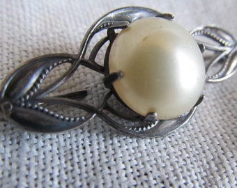SALE Antique Art Nouveau Sterling Silver And Faux Pearl Brooch Was 35.00 Now 29.99