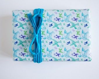 Wrapping paper - 3 sheets - Duplex printing - Fishes and arrows