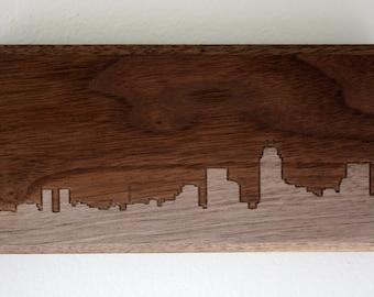 Indianapolis Skyline. - 4x8 - Walnut