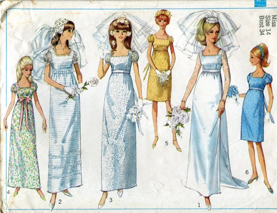 Vintage 1960s Wedding Dress and Bridesmaids' Dress Pattern, Simplicity 6823, Size 14, Bust 34