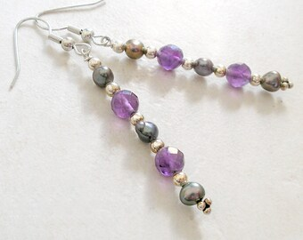 Minimalist Earrings Purple Amethyst Freshwater Pearl Sterling Silver Beaded Dangle For Women